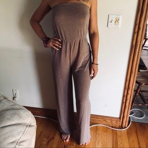 Boohoo strapless wide leg jumpsuit